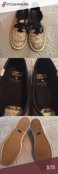 Kate Spade glitter keds EUC Kate Spade glitter keds. Size 8. Worn twice. Comes with box and both pairs of laces (regular laces & ribbon laces). Fit true to size. Shoes