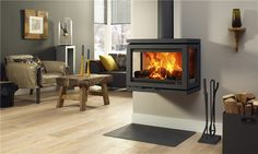 Dik Geurts DG Vidar Triple Wood Burning Stove - The Stove Fitter's Warehouse Stove Fireplace, Fireplace Design, Inset Stoves, Modern Stoves, Multi Fuel Stove, Log Burner, Home And Living, Living Spaces, Living Rooms