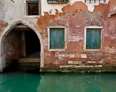 Venice Canal Photograph, Italy Photo, Italian, Pastel, Red, Rust, Green, Arch, House, Building, Wall Decor, Fine Art - Watery Portico