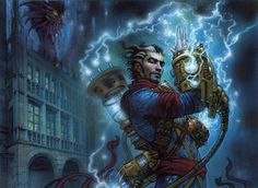 Ral Zarek's brainstorms bring actual thunder and lightning. Art by Terese Nielsen