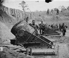 American Civil War artillery.  A line of 13-inch seacoast mortars of Battery No. 4, 1st Connecticut Heavy Artillery-York, Virginia