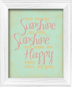 Shabby Chic Baby Girl Gold Mint Coral You are my Sunshine by LostSockDesigns.