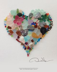 "Bought a Donald Verger calendar. His work is gorgeous! Sea Glass Fine Art Heart Poster 11 X 14 From the Book ""Of Love & Sea Glass: Inspirational Quotes and Treasured Gifts from the Sea"" Donald Verger Photography Sea Glass Beach, Sea Glass Art, Sea Glass Jewelry, Sea Glass Display, Sea Glass Mosaic, Silver Jewelry, Diamond Jewelry, Heart Poster, Sea Glass Crafts"