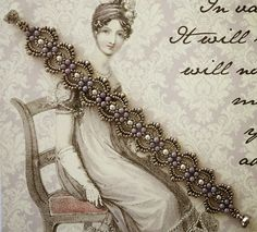 Linda's Crafty Inspirations: Bracelet of the Day: Lovely Lace - Amethyst Luster & Pewter (Turn motif sideways (vertical) for necklace/rope/lariat Lace Bracelet, Seed Bead Bracelets, Seed Bead Jewelry, Seed Beads, Fuse Beads, Silver Bracelets, Jewelry Bracelets, Seed Bead Patterns, Macrame Bracelets