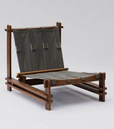 Anonymous; Oak, Canvas and Leather Easy Chair, 1960s.