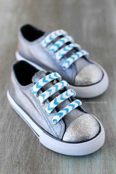 DIY Glitter Shoe Laces  - DIY Mod Podge Rocks Peel & Stick Stencils
