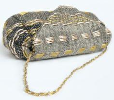 Albatros fabric in handwoven fabric. Topazio grey. Chain handle.