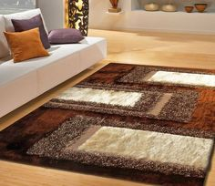 White And Brown Rug For Living Room