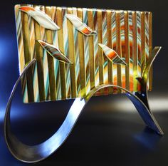 "Spectrum 96 Glass: Fusers Reserve ""Southwest"" and Medium Gold Amber Irid. With stand made from welded steel strips Glass Wall Art, Fused Glass Art, Spectrum Glass, Art Stand, Bee Creative, Glass Etching, Etched Glass, Kiln Formed Glass, Glass Partition"