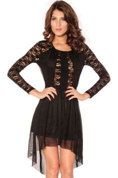 High-low  Sheer Lace Dress
