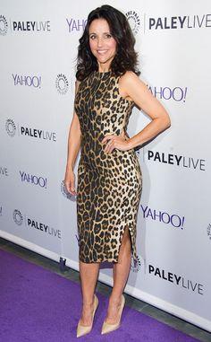 Hot! Or Hmm…: Julia Louis Dreyfus's Paley Center 'Evening With Veep' Pre-Fall 2015 Altuzarra Sleeveless Leopard Print Side Slit Dress