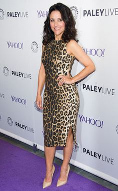 Hot! Or Hmm…: Julia Louis Dreyfus's Paley Center 'Evening With Veep' Pre-Fall 2015 Altuzarra Sleeveless Leopard Print Side Slit Dress