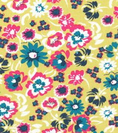 Keepsake Calico™ Cotton Fabric-Tropical Floral On Lime