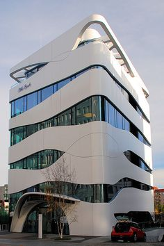 Otto Bock Healthcare by Wolfsraum, Why does this remind me of an aquarium? Office Building Architecture, Building Facade, Building Exterior, Futuristic Architecture, Facade Architecture, Amazing Architecture, Building Design, Amazing Buildings, Modern Buildings