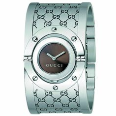 Gucci Women's YA112401 Twirl Medium Bangle Brown Dial Watch Gucci. $945.00. Water-resistant to 99 feet (30 M/3 ATM). Vertically rotating case with engraved GG caseback. Polished stainless steel case; case diameter: 23.0 mm. Brown sun-brushed dial. Swiss-Made Ronda quartz movement. Unscratchable sapphire crystal. Polished stainless steel bangle bracelet with jewelry clasp