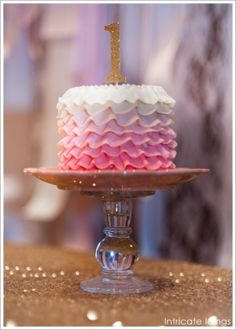 Ombre ruffle cake---love the number one!! Will be making that for her as well!! Cute and cheap!! All about saving the money!