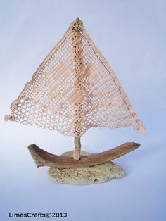 Driftwood Sailboat Handmade Wooden Boat Lace Stone by LIMASCRAFTS, $30.00