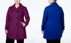 Anne Klein Plus Size Double-Breasted Peacoat, Only at Macy's - Coats - Plus…