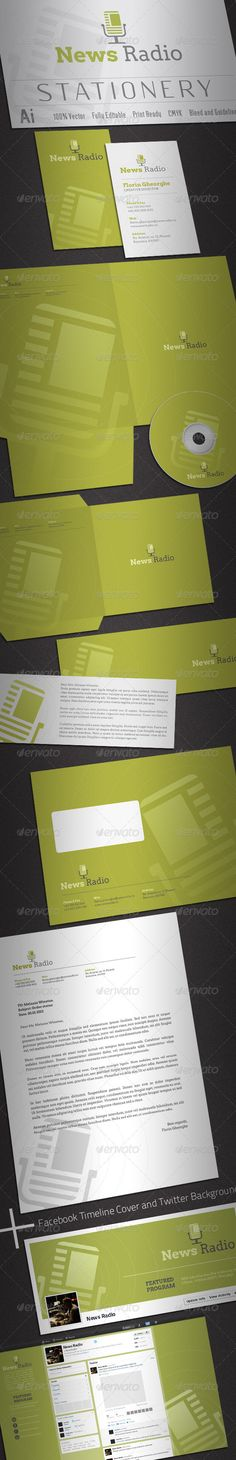 News Radio Stationery  #GraphicRiver         Simple, clean and modern News Radio, News Blog or Social Media stationery package.   Simple to work with and highly customizable, it ca be easely adjusted to fit your needs.   All layeres are well named and organized.   High quality fully layered and fully editable AI EPS templates. Print Ready, CMYK with bleed and guidelines.   Pakage includes:   1. Business Card 2. Poket Folder 3. Compliment Card 4. CD Covers and CD Label 5. C5 Envelope 6…