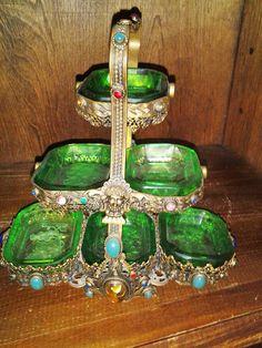 Antique Intaglio Czech Salt Cellar Holder [RARE] via Barb Sandegen. Salt And Pepper Dishes, Salt Pepper Shakers, Antique Glass, Old Antiques, Green And Orange, Decorative Items, Etsy Vintage, Tea Party, Glass Art