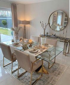 Home Room Design, Dining Room Design, Home Interior Design, House Design, Living Room Decor Cozy, Home Living Room, Luxury Dining Room, Elegant Home Decor, Home Decor Kitchen