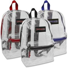 9ebe165418 Wholesale Trailmaker Classic 17 Inch Clear Backpack - 5 Assorted Colors