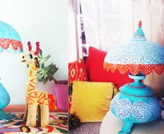 Pierced Moroccan metal table lamp {After}