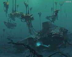 Crashed ship site in Lily Pad islands area. Environment concept for Subnautica Below Zero. Subnautica Concept Art, Alien Concept Art, Environment Concept Art, Zero Wallpaper, Underwater Plants, Futuristic Robot, Value In Art, Video X, Medieval