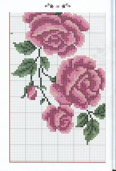 Прелеп венчић са ружицама. Counted Cross Stitch Patterns, Cross Stitch Designs, Cross Stitch Embroidery, Cross Stitch Rose, Cross Stitch Flowers, Blackwork, Crochet Designs, Hobbies And Crafts, Flower Patterns