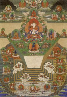 Bhutanese thanka of 'Mount Meru' and the Buddhist Universe,19th century, Trongsa Dzong, Trongsa, Bhutan. 'Mount Meru', also called 'Sumeru' i.e. the 'Excellent Meru' and 'Mahameru' i.e. 'Great Meru', is a sacred mountain in Hindu and Buddhist cosmology as well as in Jain cosmology, and is considered to be the center of all the physical, meta-physical and spiritual universes. It is also the abode of Lord Brahma [ the Creator ] and the Demi-Gods (Devas).