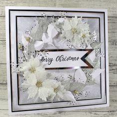 John Next Door: Swirl Poinsettia white. Christmas Rose, Christmas Crafts, Homemade Christmas, Christmas Stuff, Christmas Ideas, Christmas Ornaments, Xmas Cards, Holiday Cards, Poinsettia Cards