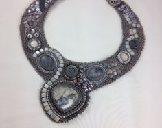 Bead Embroidery Collar by QueenMarcyOriginals on Etsy