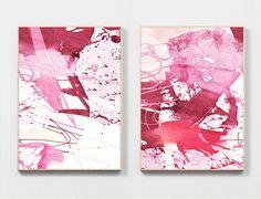 Abstract Art Print Set Large Art 2 digital by DanHobdayArt on Etsy Pink Abstract, Abstract Wall Art, Pink Wall Art, Using Acrylic Paint, Pink Walls, Modern Wall Art, Large Art, Illustrations Posters, Original Art