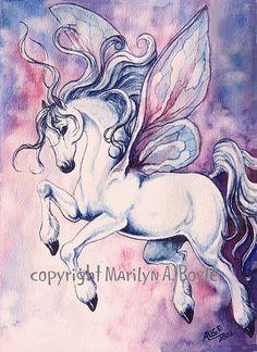 ORIGINAL FANTASY WATERCOLOR - fairy horse, pastel colors, for a child's room.