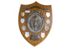 English Oak & Silver Plate Trophy Plaque | One Kings Lane