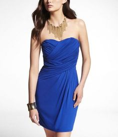 STRAPLESS RUCHED TUBE DRESS at Express......current LOVE
