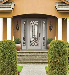 wrought iron glass door Casement Windows, Windows And Doors, Exterior Doors, Entry Doors, Glass Collection, Glass Design, Glass Door, Wrought Iron, Cottage
