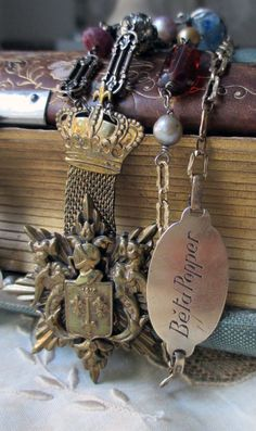 'honour society' vintage assemblage necklace with crown badge and gemstones by The French Circus, $145.00