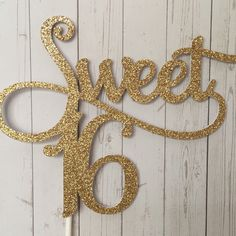 Gorgeous new gold glitter Sweet 16 cake topper available in our shop now www.creationdesignsau.etsy.com