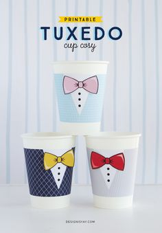 FREE Printable Tuxedo Cup Cosies | Father's Day Printable | DESIGN IS YAY!