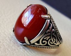 liver agate carnelian yemeni aqeeq ring by AbuMariamJewels on Etsy