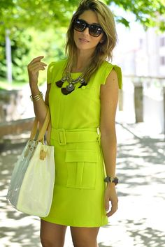 Beautiful Summer Dresses, Summer Dresses For Women, Summer Outfits, Casual Dresses, Short Dresses, Fashion Dresses, Neon Color Dress, Top Model Fashion, Looks Street Style
