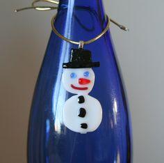 Snowman Christmas ornament Wine bottle charm Original Fused glass decoration.. $12.00, via Etsy.