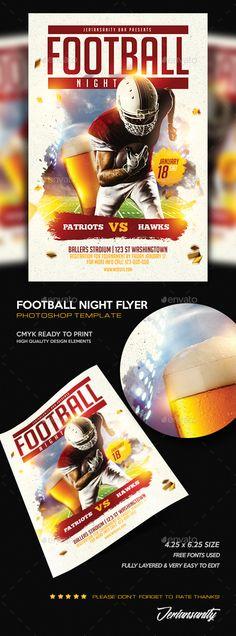 Football Flyer Template PSD Flyer template, Template and Event - movie night flyer template