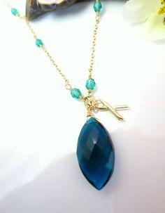 Cervical cancer teal blue quartz peacock marquis gold by KBlossoms, $65.00