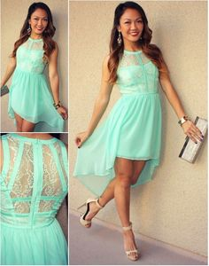 High Low Lace Bodice Pandora Dress #mint #prom