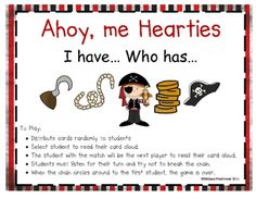 Free! Pirate theme I Have Who Has using cute pirate pics & sight words...could modify as a artic sentence level activity.  Activity