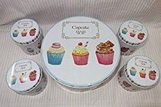 Amazon.com: Elegant Cookie Cupcake Themed Storage Tins, Shabby Chic, Big Round Shaped Box with 4 Small Boxes: Kitchen & Dining
