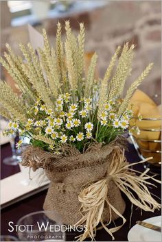 Rustic Wheat Wedding Ideas Tasting Day at The Ashes Table Decoration Wedding, Wedding Table Centerpieces, Flower Centerpieces, Flower Decorations, Table Decorations, Centerpiece Ideas, Wheat Centerpieces, Table Flower Arrangements, Table Flowers