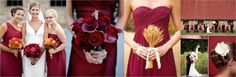 deep red and blue fall wedding colors | Bride with Bridesmaids / Burgundy Calla Lilies / Bridesmaid with Wheat ...